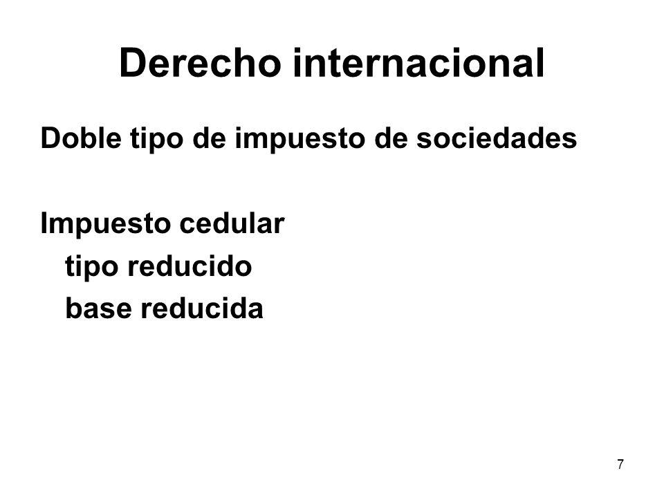8 Derecho internacional Doble imposición internacional Neutralidad de importación de capitales : exención exportación de capitales : crédito Problemas Impuestos creditables Límite del crédito limitación global por país Reporte del crédito