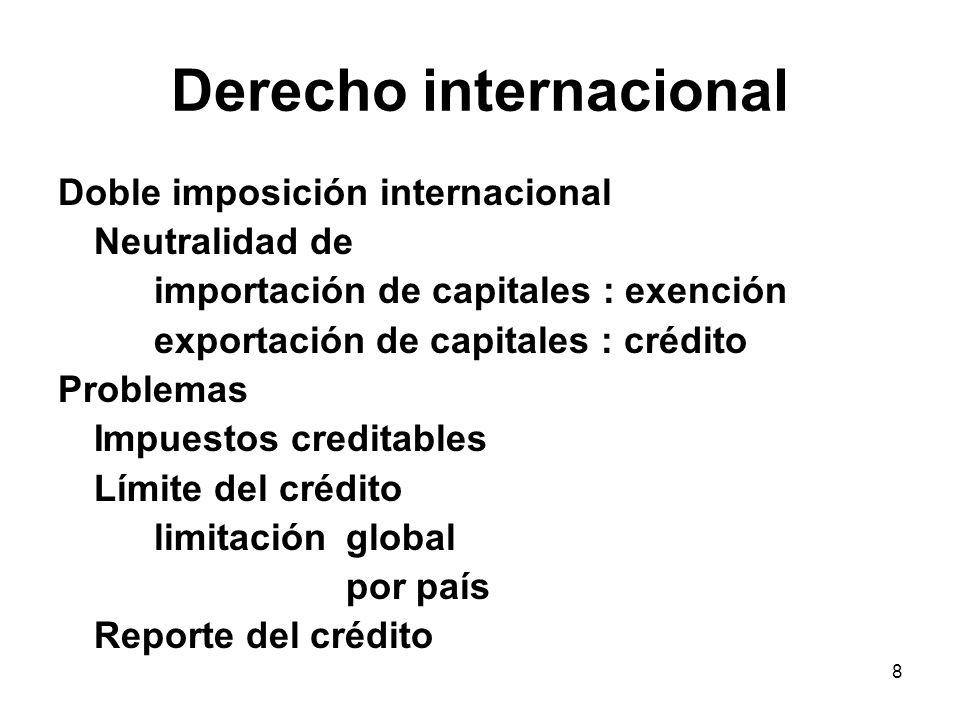 8 Derecho internacional Doble imposición internacional Neutralidad de importación de capitales : exención exportación de capitales : crédito Problemas