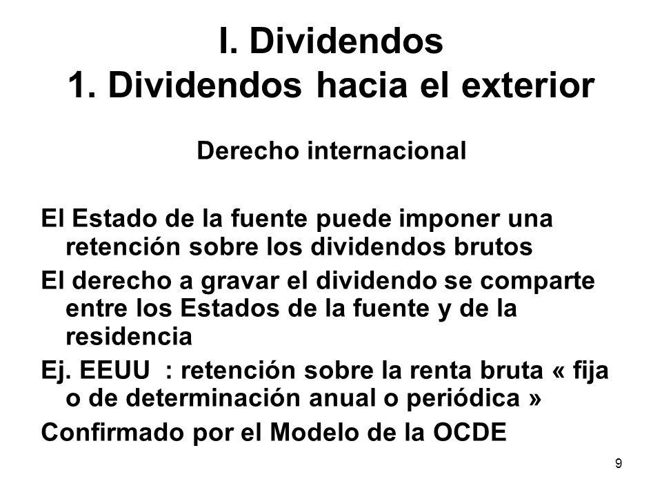 9 I. Dividendos 1. Dividendos hacia el exterior Derecho internacional El Estado de la fuente puede imponer una retención sobre los dividendos brutos E