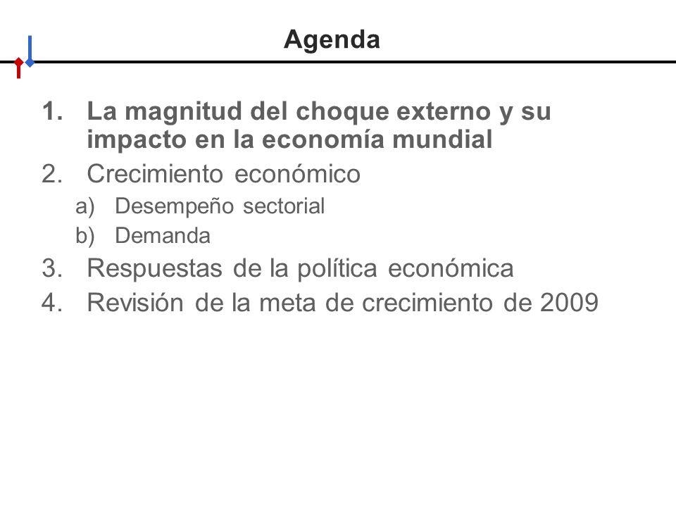 HACIA UN MINISTERIO AGIL, ACERTADO Y CONFIABLE Agenda 1.La magnitud del choque externo y su impacto en la economía mundial 2.Crecimiento económico a)Desempeño sectorial b)Demanda 3.Respuestas de la política económica 4.Revisión de la meta de crecimiento de 2009