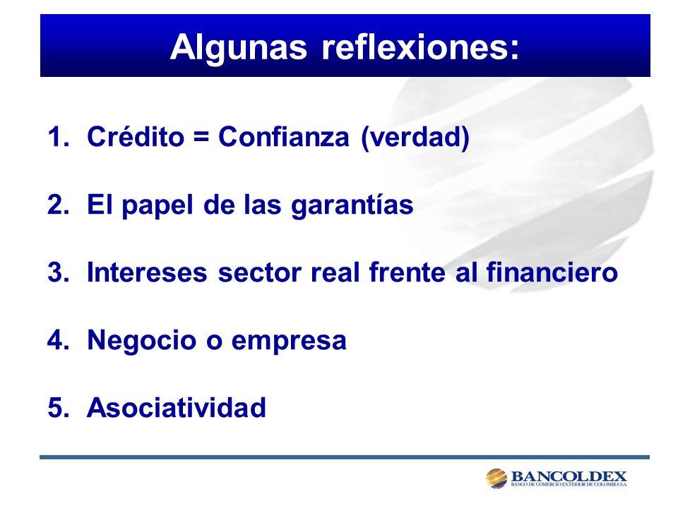 1.Crédito = Confianza (verdad) 2.El papel de las garantías 3.Intereses sector real frente al financiero 4.Negocio o empresa 5.Asociatividad Algunas reflexiones: