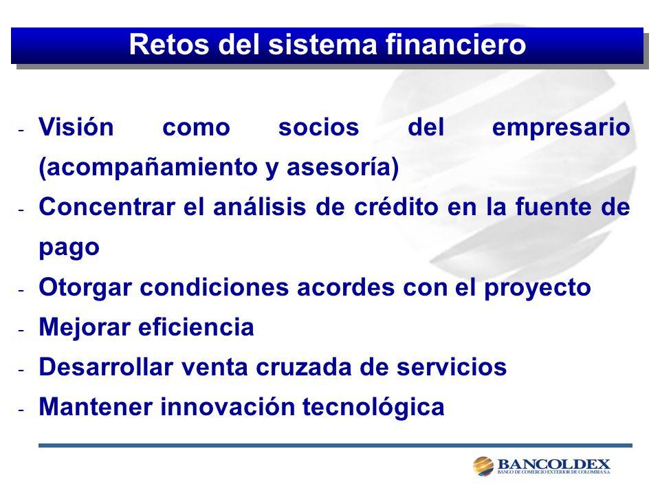 - Visión como socios del empresario (acompañamiento y asesoría) - Concentrar el análisis de crédito en la fuente de pago - Otorgar condiciones acordes con el proyecto - Mejorar eficiencia - Desarrollar venta cruzada de servicios - Mantener innovación tecnológica Retos del sistema financiero