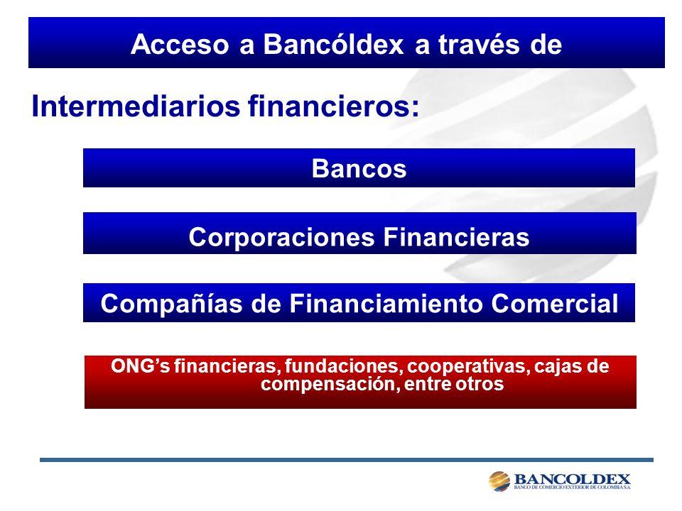 Acceso a Bancóldex a través de Bancos Corporaciones Financieras Compañías de Financiamiento Comercial ONGs financieras, fundaciones, cooperativas, cajas de compensación, entre otros Intermediarios financieros: