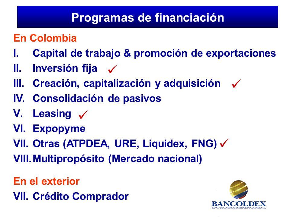 En Colombia I.Capital de trabajo & promoción de exportaciones II.
