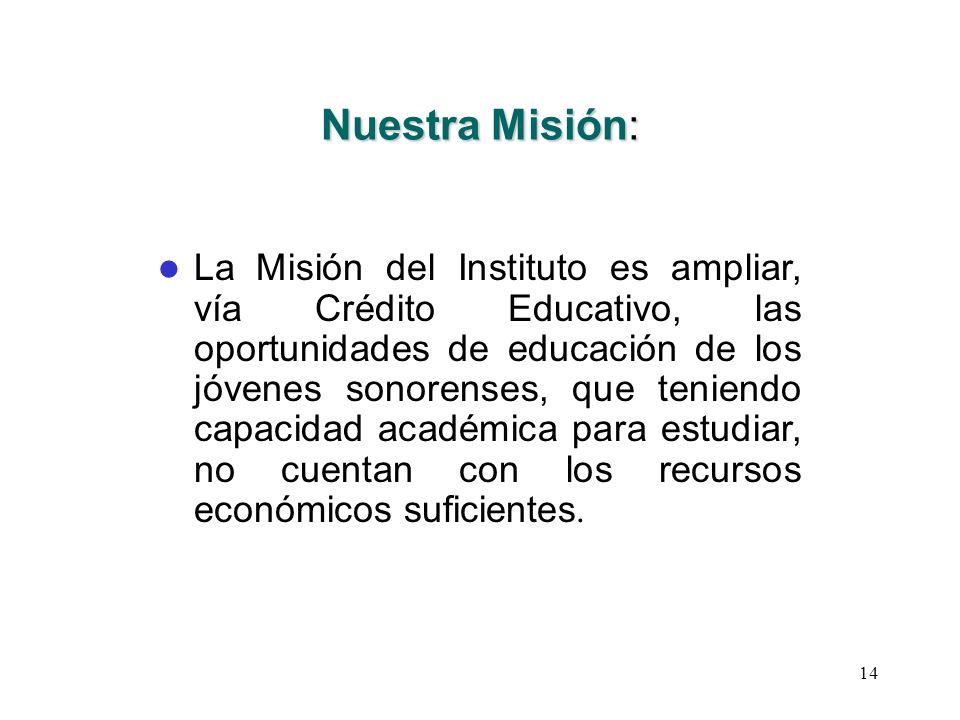 14 Nuestra Misión: La Misión del Instituto es ampliar, vía Crédito Educativo, las oportunidades de educación de los jóvenes sonorenses, que teniendo c