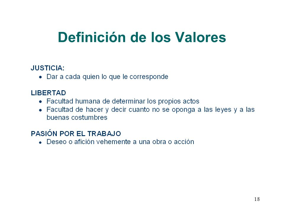 18 Definición de los Valores