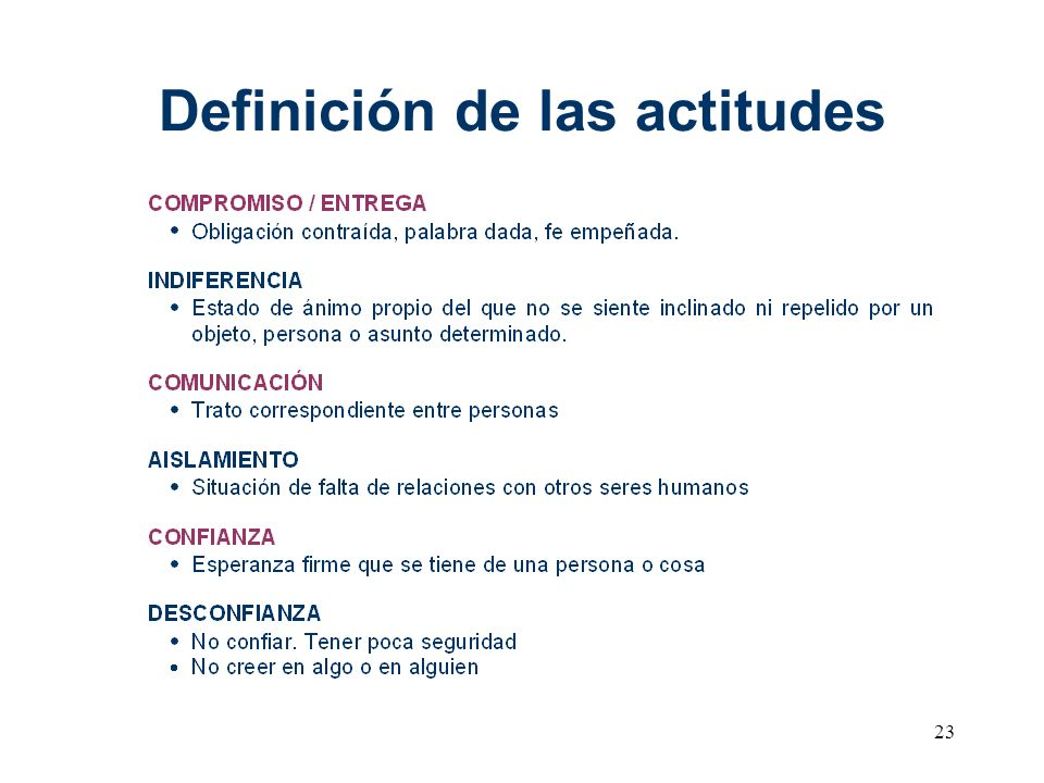 23 Definición de las actitudes