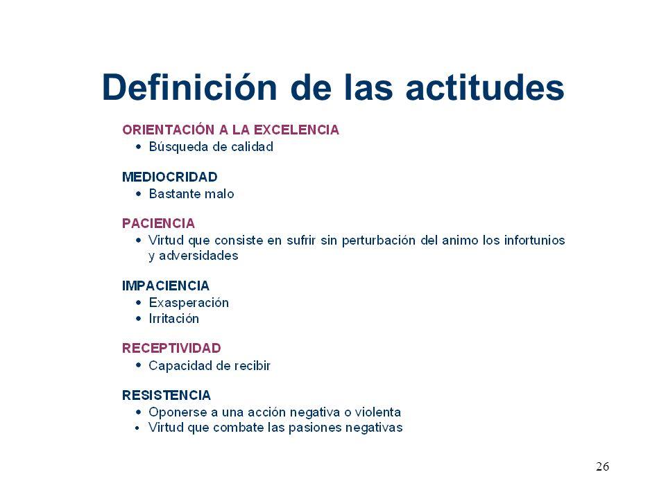 26 Definición de las actitudes