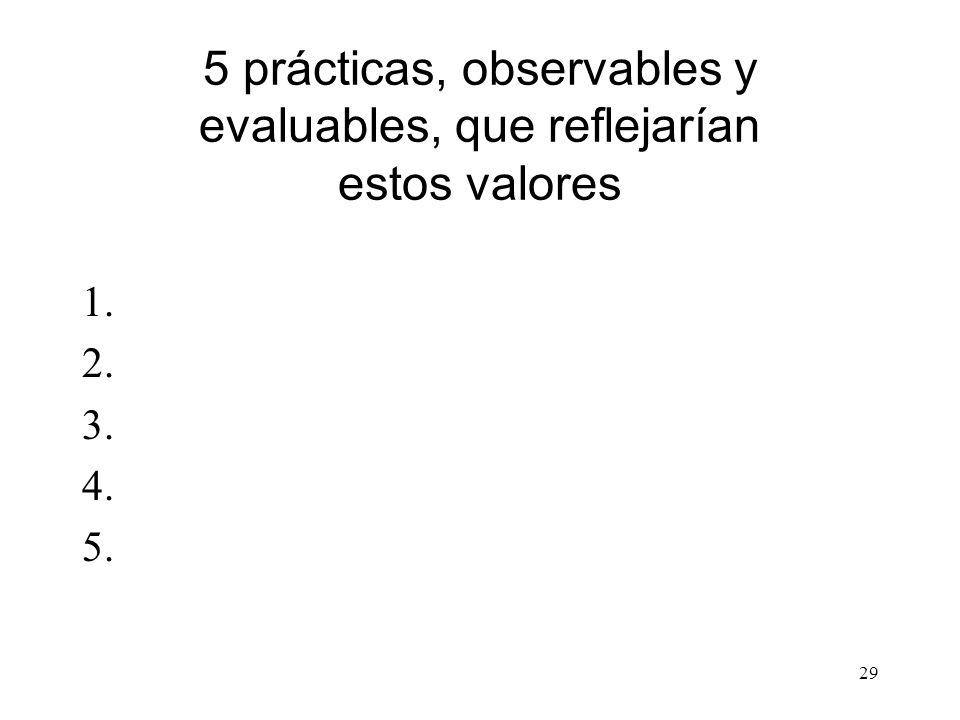 29 5 prácticas, observables y evaluables, que reflejarían estos valores 1. 2. 3. 4. 5.