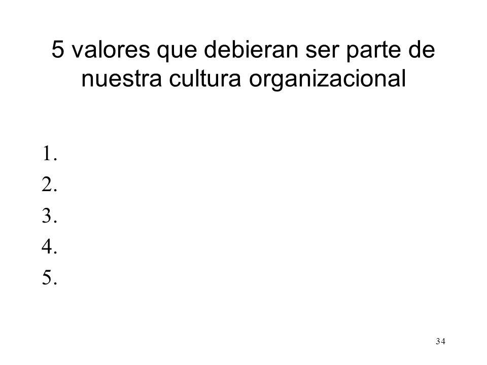 34 5 valores que debieran ser parte de nuestra cultura organizacional 1. 2. 3. 4. 5.