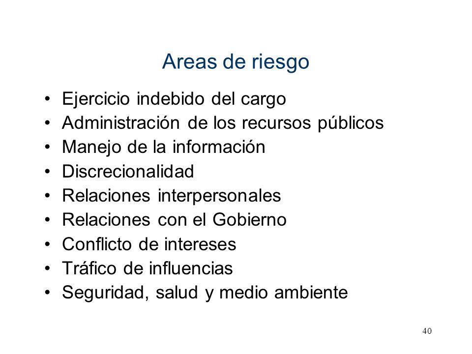 40 Areas de riesgo Ejercicio indebido del cargo Administración de los recursos públicos Manejo de la información Discrecionalidad Relaciones interpers