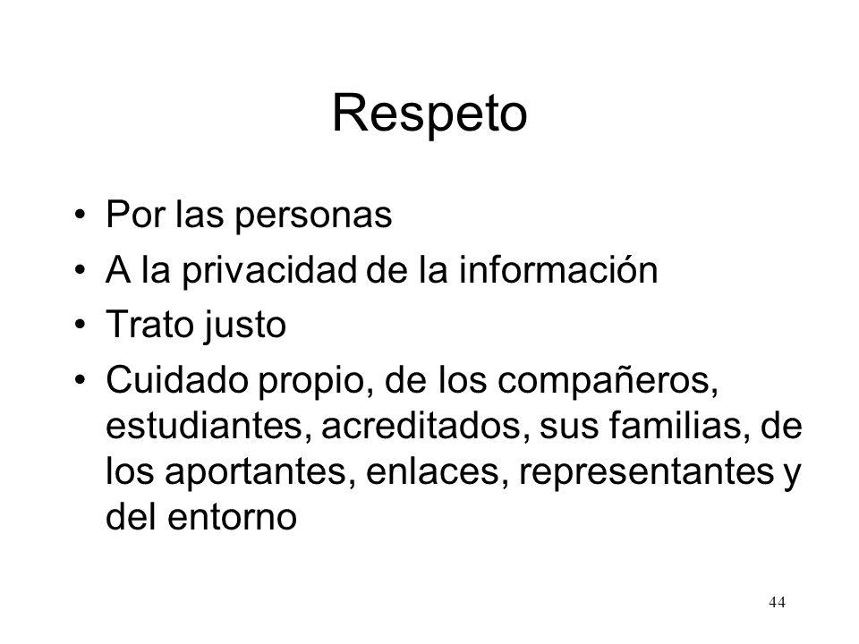 44 Respeto Por las personas A la privacidad de la información Trato justo Cuidado propio, de los compañeros, estudiantes, acreditados, sus familias, d