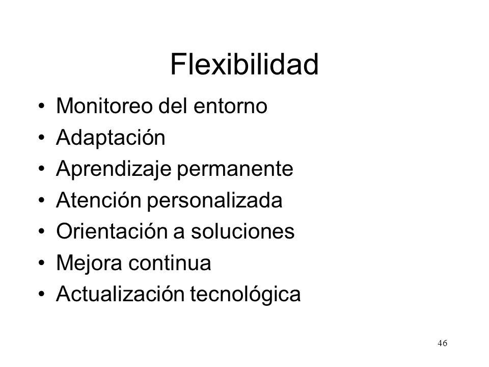 46 Flexibilidad Monitoreo del entorno Adaptación Aprendizaje permanente Atención personalizada Orientación a soluciones Mejora continua Actualización