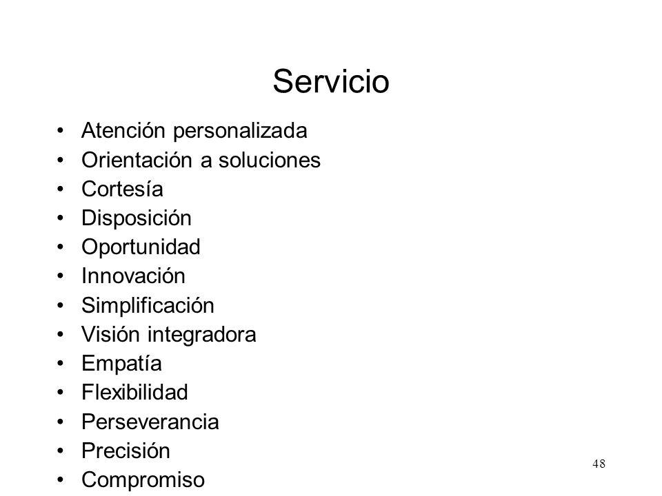 48 Servicio Atención personalizada Orientación a soluciones Cortesía Disposición Oportunidad Innovación Simplificación Visión integradora Empatía Flex
