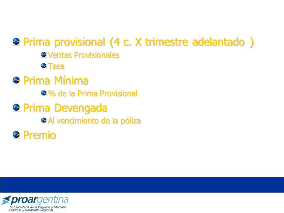 Prima provisional (4 c. X trimestre adelantado ) Ventas Provisionales Tasa Prima Mínima % de la Prima Provisional Prima Devengada Al vencimiento de la