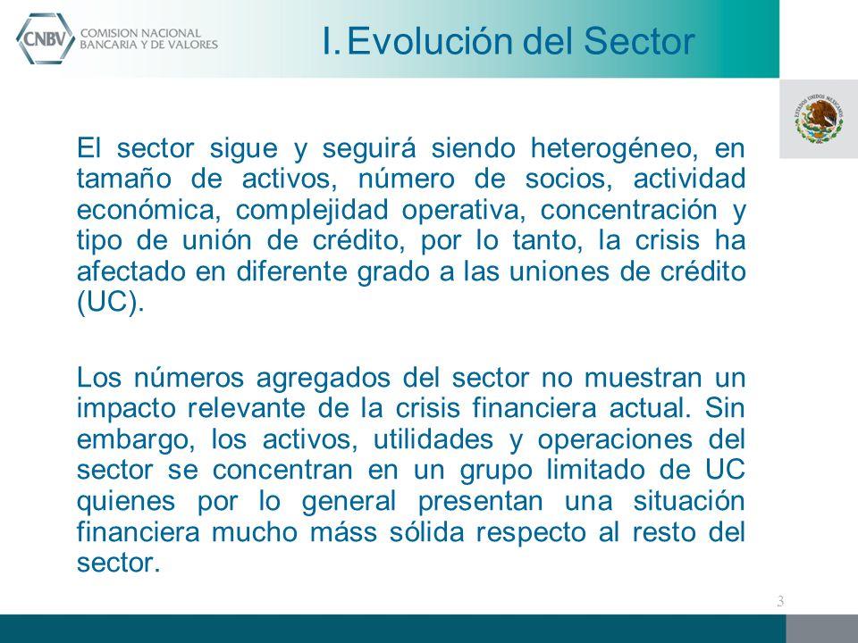 Conclusiones sobre el impacto de la Crisis Financiera en el Sector de Uniones de Crédito: El dinamismo observado por el sector se frenó, ya que entre diciembre de 2008 y junio de 2009 el crecimiento de sus activos y la cartera de crédito fue de 1.15% y 1% respectivamente.