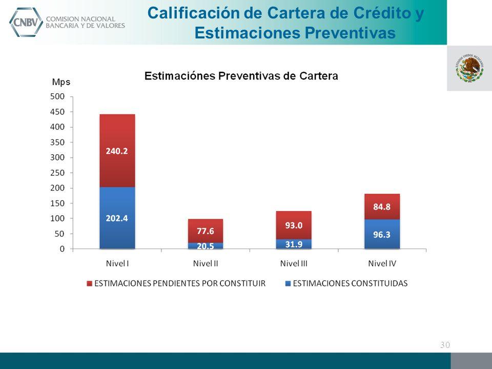 Calificación de Cartera de Crédito y Estimaciones Preventivas 30