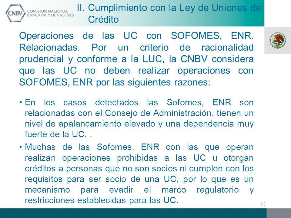 Operaciones de las UC con SOFOMES, ENR.Relacionadas.