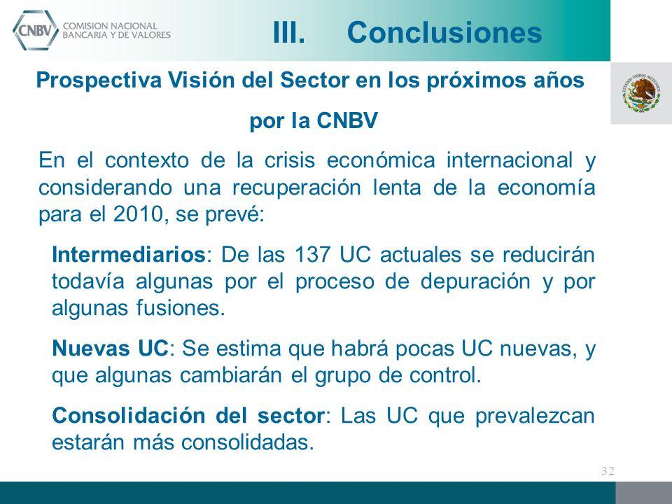 En el contexto de la crisis económica internacional y considerando una recuperación lenta de la economía para el 2010, se prevé: Intermediarios: De las 137 UC actuales se reducirán todavía algunas por el proceso de depuración y por algunas fusiones.