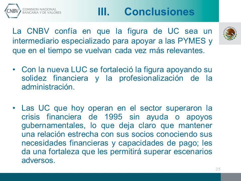 La CNBV confía en que la figura de UC sea un intermediario especializado para apoyar a las PYMES y que en el tiempo se vuelvan cada vez más relevantes.