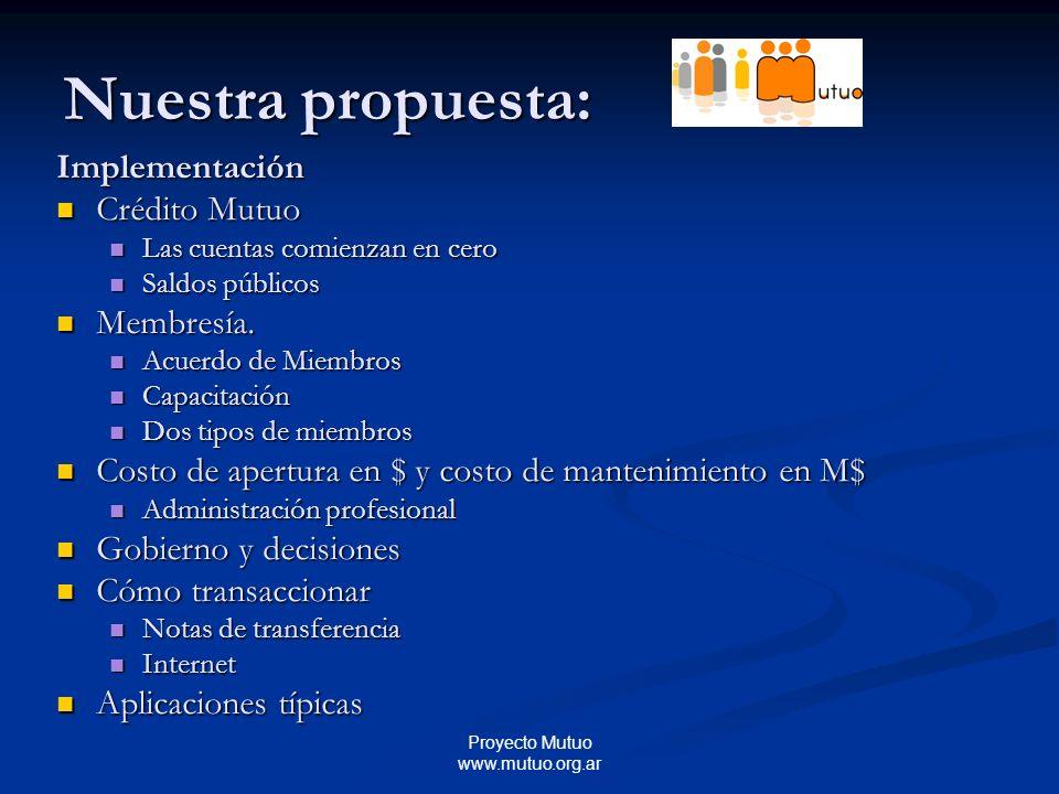 Proyecto Mutuo www.mutuo.org.ar Nuestra propuesta: Implementación Crédito Mutuo Crédito Mutuo Las cuentas comienzan en cero Las cuentas comienzan en cero Saldos públicos Saldos públicos Membresía.