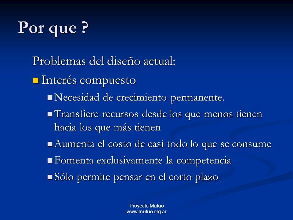 Proyecto Mutuo www.mutuo.org.ar Problemas del diseño actual: Interés compuesto Interés compuesto Necesidad de crecimiento permanente.
