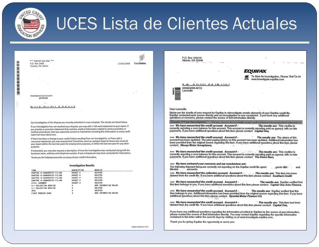 UCES Lista de Clientes Actuales