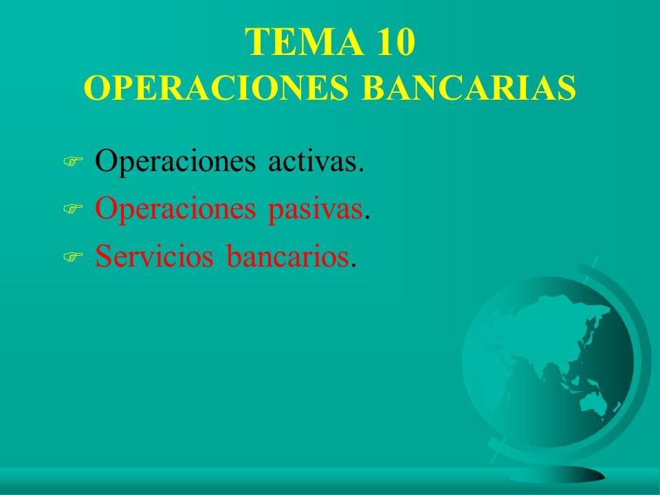 TEMA 10 OPERACIONES BANCARIAS F Operaciones activas. F Operaciones pasivas. F Servicios bancarios.