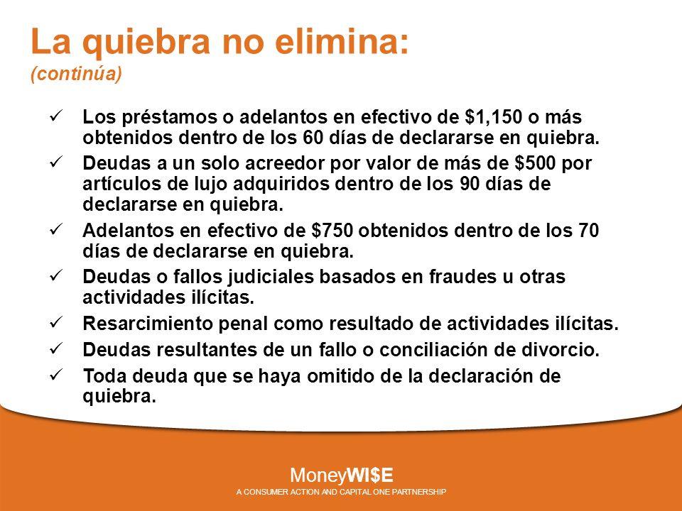 La quiebra no elimina: (continúa) Los préstamos o adelantos en efectivo de $1,150 o más obtenidos dentro de los 60 días de declararse en quiebra.