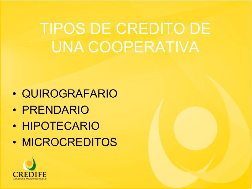 TIPOS DE CREDITO DE UNA COOPERATIVA QUIROGRAFARIO PRENDARIO HIPOTECARIO MICROCREDITOS