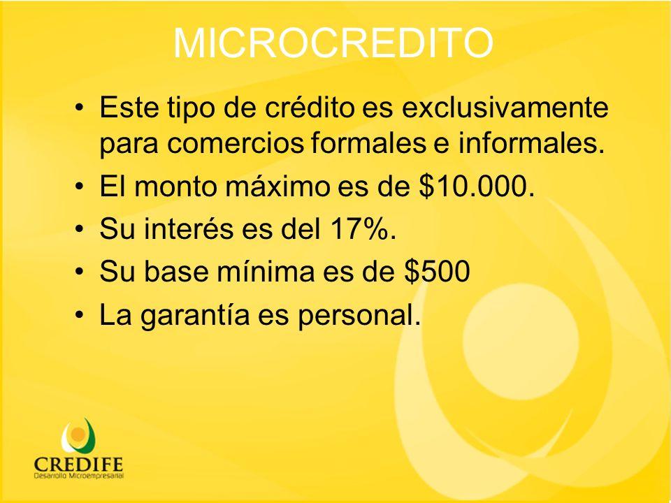 MICROCREDITO Este tipo de crédito es exclusivamente para comercios formales e informales.