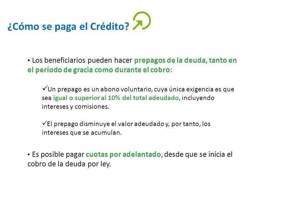 ¿Cómo se paga el Crédito? Los beneficiarios pueden hacer prepagos de la deuda, tanto en el período de gracia como durante el cobro: Un prepago es un a