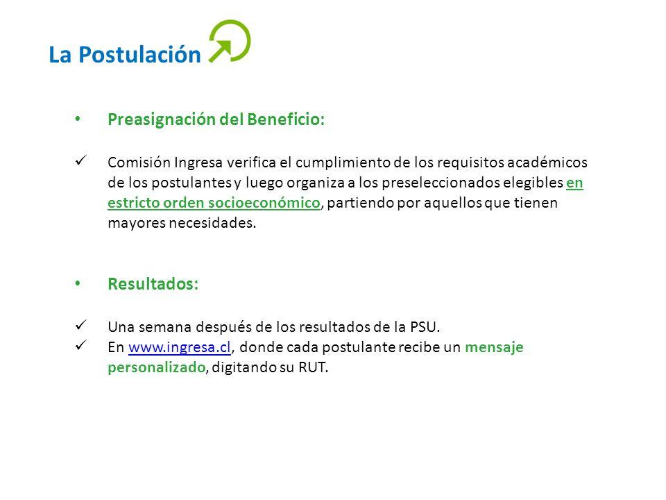 La Postulación Preasignación del Beneficio: Comisión Ingresa verifica el cumplimiento de los requisitos académicos de los postulantes y luego organiza