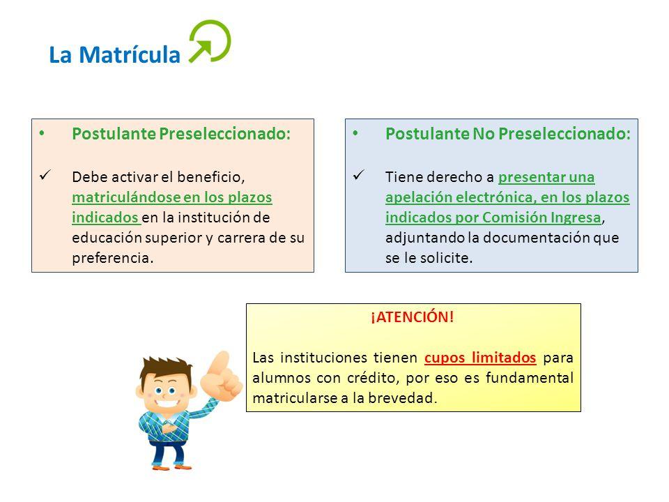 La Matrícula Postulante Preseleccionado: Debe activar el beneficio, matriculándose en los plazos indicados en la institución de educación superior y c