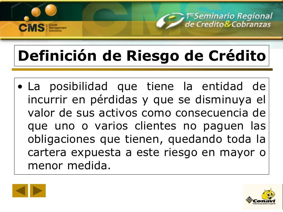 Definición de Riesgo de Crédito La posibilidad que tiene la entidad de incurrir en pérdidas y que se disminuya el valor de sus activos como consecuenc