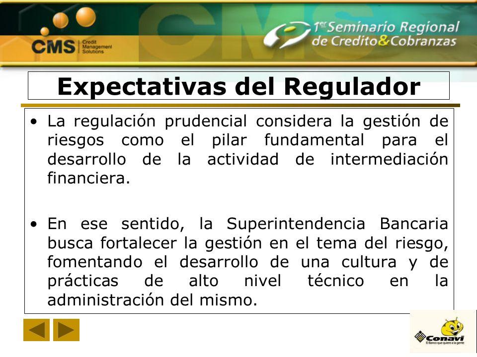 La regulación prudencial considera la gestión de riesgos como el pilar fundamental para el desarrollo de la actividad de intermediación financiera. En
