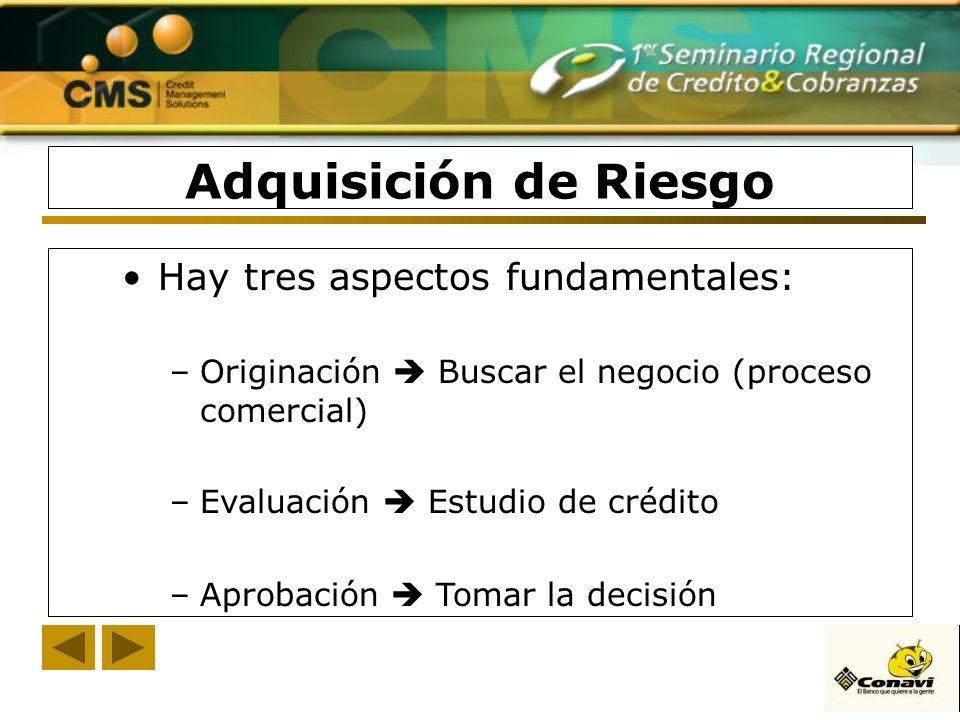 Adquisición de Riesgo Hay tres aspectos fundamentales: –Originación Buscar el negocio (proceso comercial) –Evaluación Estudio de crédito –Aprobación T
