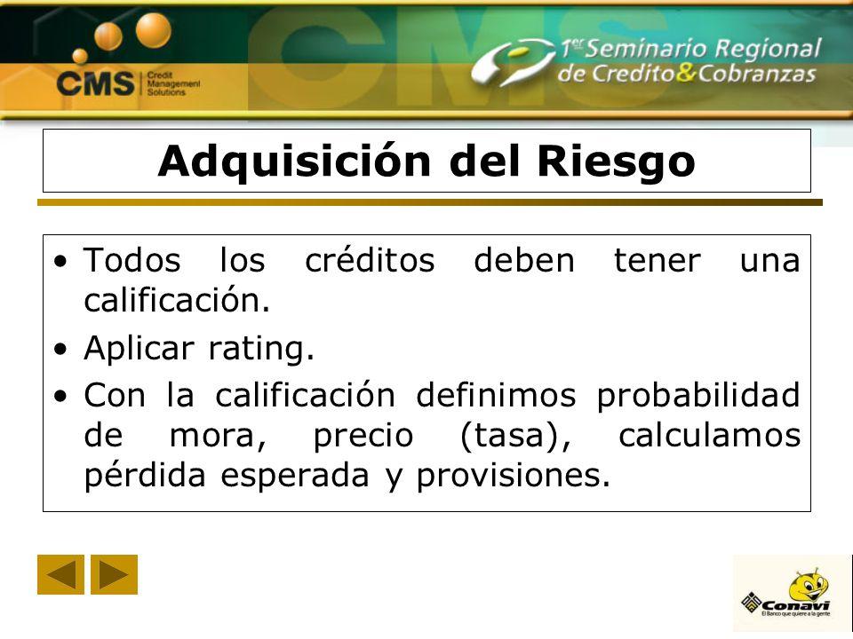 Adquisición del Riesgo Todos los créditos deben tener una calificación. Aplicar rating. Con la calificación definimos probabilidad de mora, precio (ta