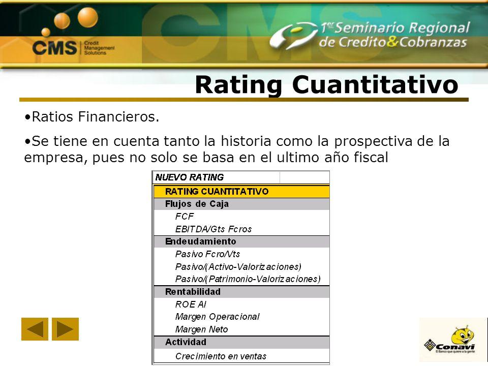 Rating Cuantitativo Ratios Financieros. Se tiene en cuenta tanto la historia como la prospectiva de la empresa, pues no solo se basa en el ultimo año