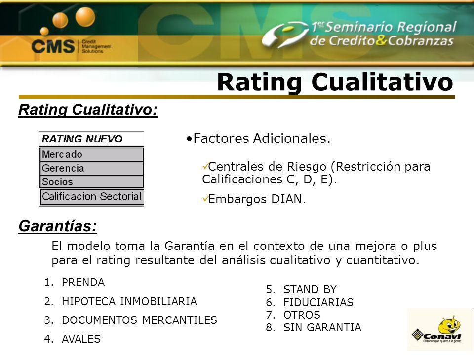 Rating Cualitativo Rating Cualitativo: Factores Adicionales. Centrales de Riesgo (Restricción para Calificaciones C, D, E). Embargos DIAN. Garantías: