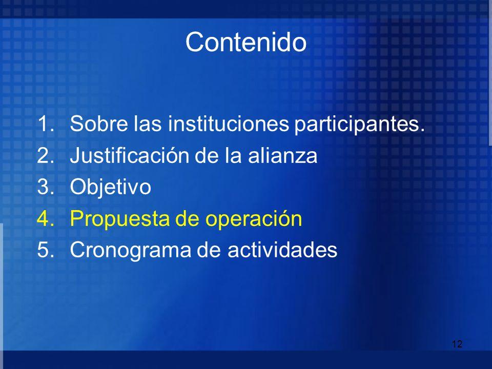 12 1.Sobre las instituciones participantes. 2.Justificación de la alianza 3.Objetivo 4.Propuesta de operación 5.Cronograma de actividades Contenido
