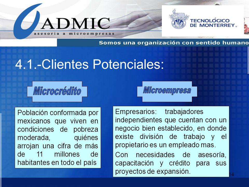 14 4.1.-Clientes Potenciales: Población conformada por mexicanos que viven en condiciones de pobreza moderada, quiénes arrojan una cifra de más de 11