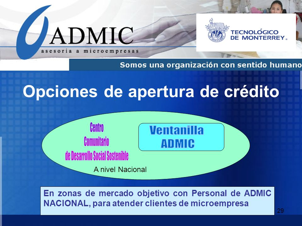 29 Opciones de apertura de crédito En zonas de mercado objetivo con Personal de ADMIC NACIONAL, para atender clientes de microempresa A nivel Nacional
