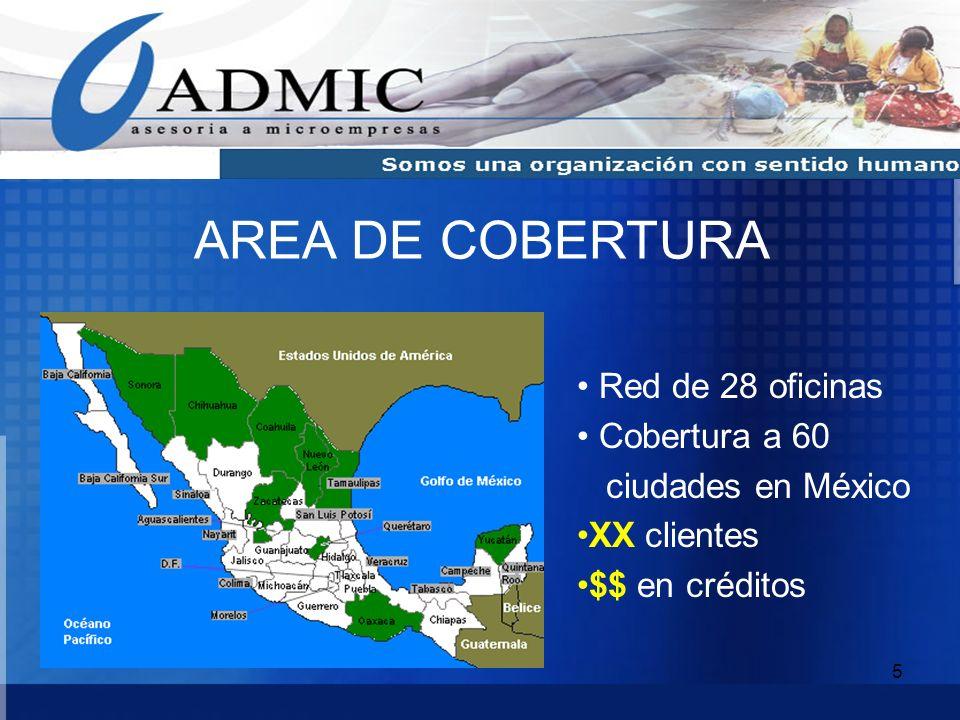 5 AREA DE COBERTURA Red de 28 oficinas Cobertura a 60 ciudades en México XX clientes $$ en créditos