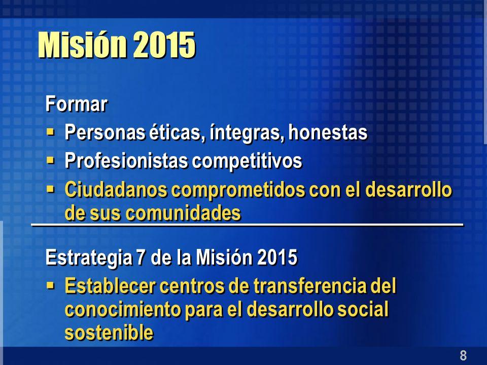 8 Misión 2015 Formar Personas éticas, íntegras, honestas Profesionistas competitivos Ciudadanos comprometidos con el desarrollo de sus comunidades Est
