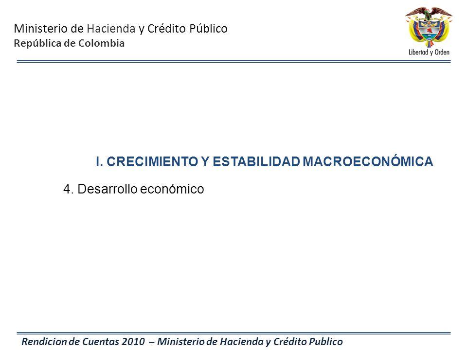 Ministerio de Hacienda y Crédito Público República de Colombia Rendicion de Cuentas 2010 – Ministerio de Hacienda y Crédito Publico I. CRECIMIENTO Y E