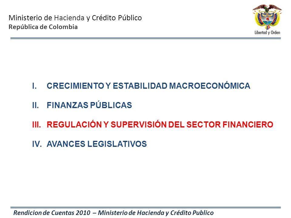 Ministerio de Hacienda y Crédito Público República de Colombia Rendicion de Cuentas 2010 – Ministerio de Hacienda y Crédito Publico I.CRECIMIENTO Y ES