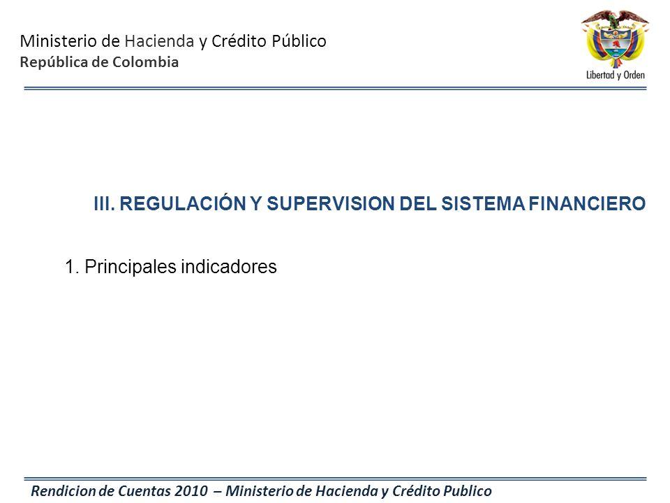 Ministerio de Hacienda y Crédito Público República de Colombia Rendicion de Cuentas 2010 – Ministerio de Hacienda y Crédito Publico III. REGULACIÓN Y