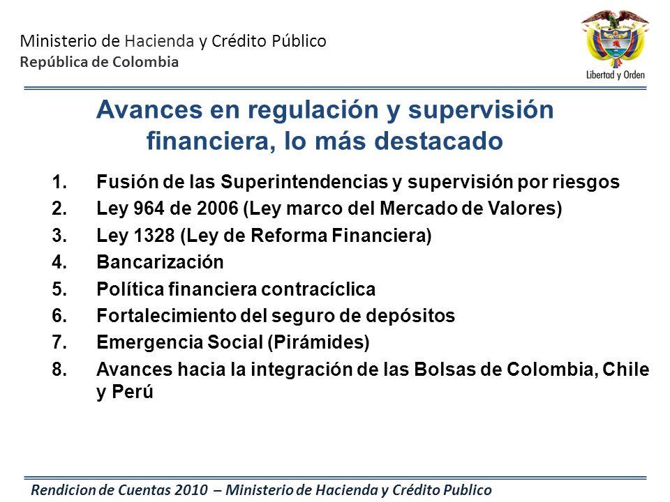 Ministerio de Hacienda y Crédito Público República de Colombia Rendicion de Cuentas 2010 – Ministerio de Hacienda y Crédito Publico Avances en regulac