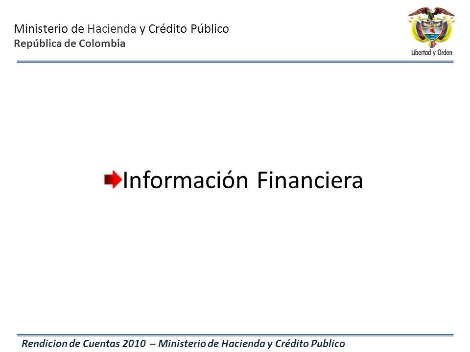 Ministerio de Hacienda y Crédito Público República de Colombia Rendicion de Cuentas 2010 – Ministerio de Hacienda y Crédito Publico Información Financ